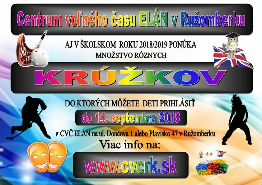 PONUKA KRÚŽKOV 2018/2019 + PRIHLÁŠKY